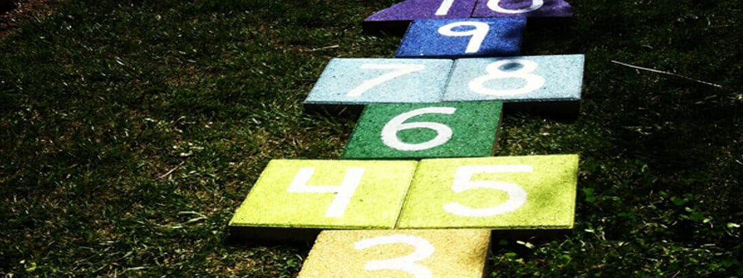 Learn how to DIY Hopscotch Court in your Backyard
