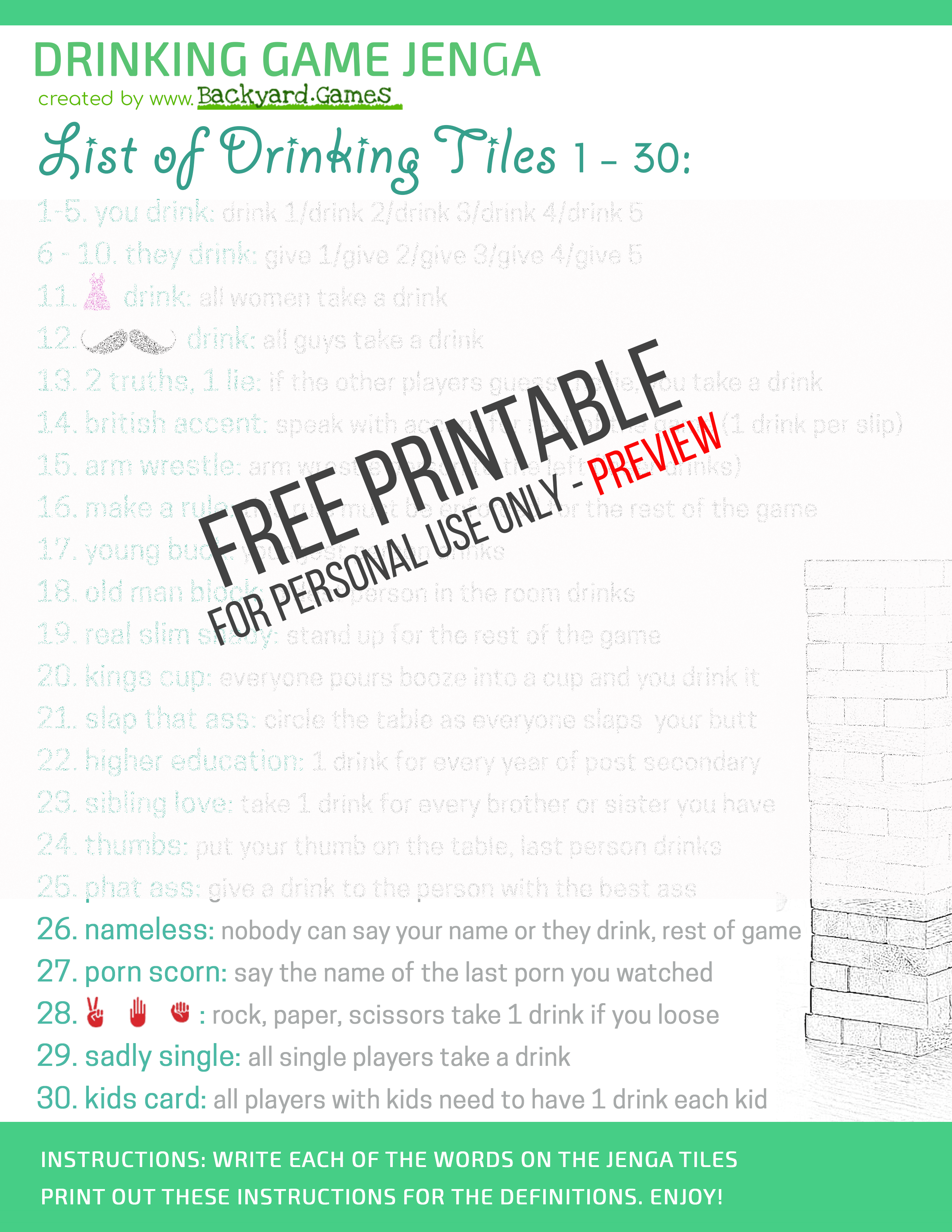 Drunk Jenga | Jenga Drinking Game Free Printable