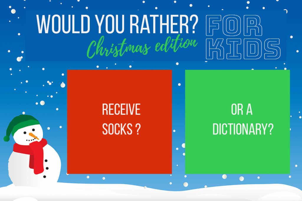 "20 Questions for ""Would you Rather?"" Christmas Edition for Kids & Family Events 1"