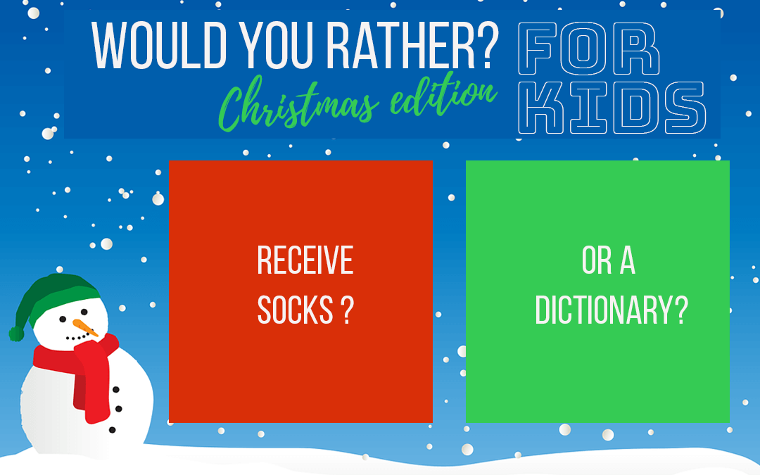 "20 Questions for ""Would you Rather?"" Christmas Edition for Kids & Family Events"